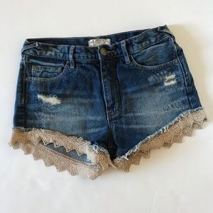 Free People High Rise Distressed Lace Trim…